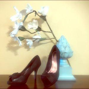 Black Satin Peep Toe Unlisted Heels in Size 9 1/2